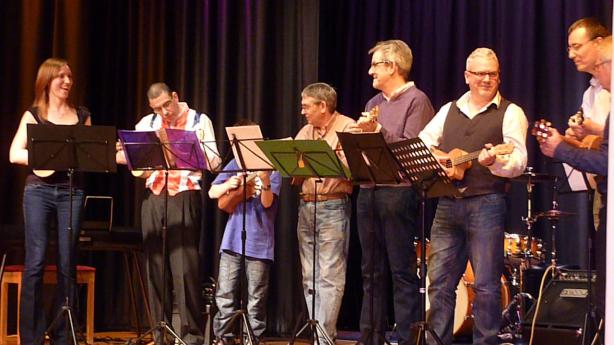 The ukulele band in concert. Photograph by Les Ganudler